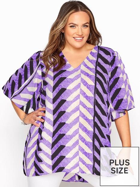 yours-yours-v-neck-wide-sleeve-dip-back-top-purpleblk-stripe