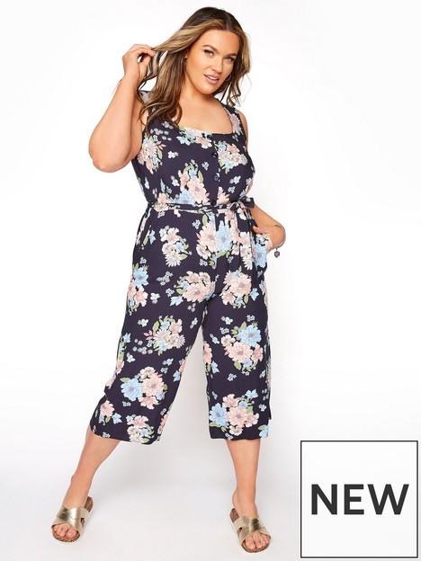 yours-floral-button-crop-jumpsuit