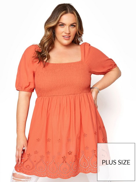 yours-yours-square-neck-shiffy-peplum-top-orange
