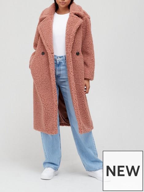 ugg-gertrude-long-teddy-coat-pink