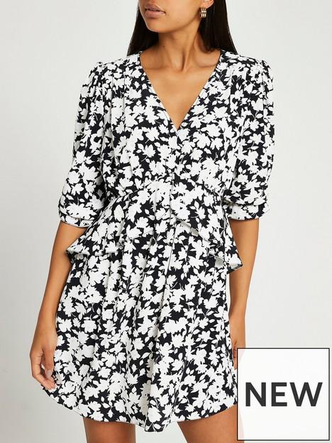 river-island-frill-waist-floral-mini-dress--black