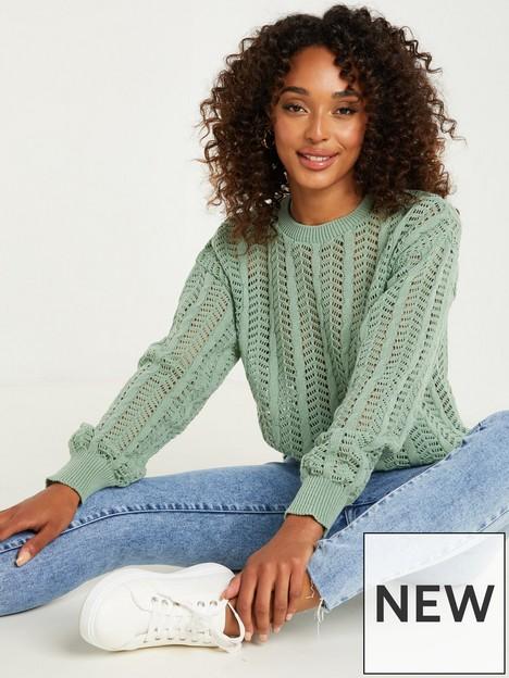 quiz-pointelle-knit-long-sleeve-round-neck-jumper-sage