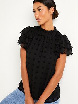 quiz-dobby-frill-short-sleeve-top-black