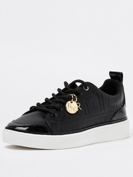 river-island-embossed-lace-up-trainer-black