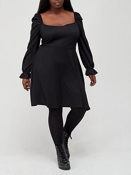 v-by-very-curve-long-sleeve-sweetheart-neck-crinkle-mini-jersey-dress-blacknbsp