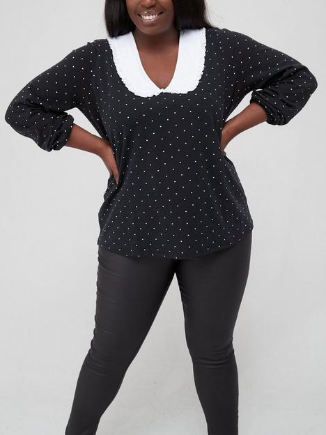 v-by-very-curve-long-sleeve-spot-collar-detail-jersey-top-polka-dot