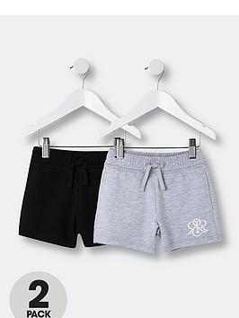 river-island-mini-mini-boys-2-pack-jog-shorts-blackgrey