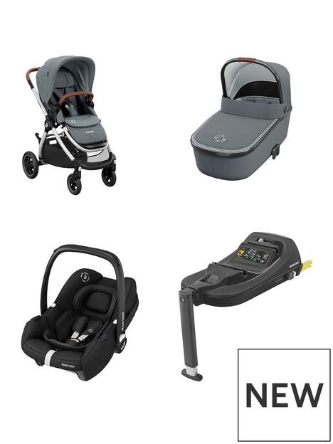 maxi-cosi-adorra-travel-system-adorra-pushchair-essential-greyoria-carrycot-essential-greytinca-car-seat-essential-black-tinca-car-seat-base