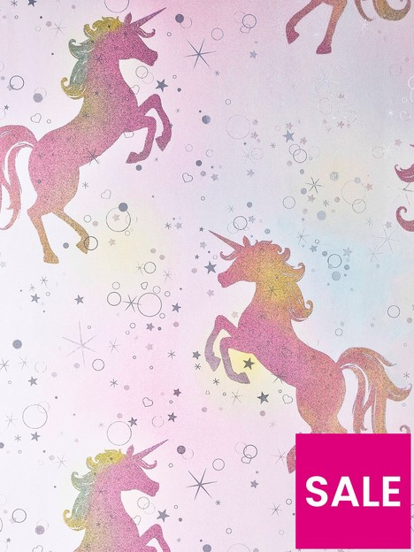 coloroll-coloroll-be-dazzled-dancing-unicorn-rainbow-glitter-wallpaper