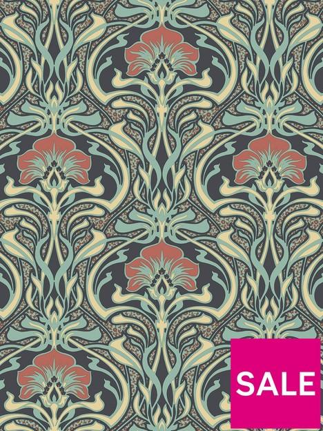 crown-crown-archives-flora-nouveau-wallpaper-peacock-green