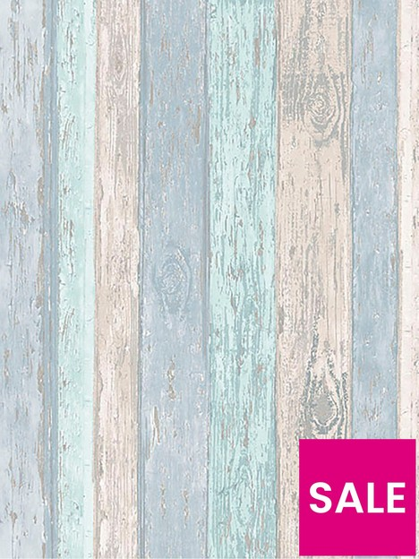 coloroll-blue-distressed-wood-wallpaper