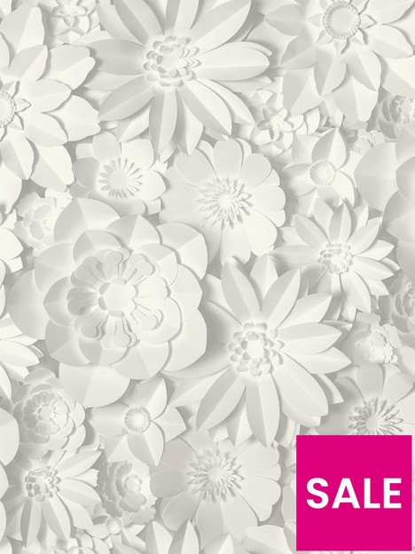fine-dcor-fine-decor-3d-effect-floral-white-grey-wallpaper