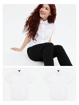 new-look-915-girlsnbspback-to-schoolnbsp2-pack-short-sleeve-shirt-white