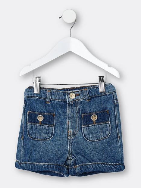 river-island-mini-mini-girls-pocket-denim-shorts-blue