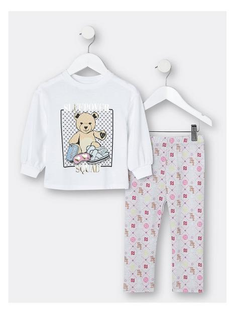 river-island-mini-mini-girls-bear-monogram-pyjama-set-multi