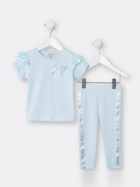 river-island-mini-mini-girls-satin-frill-legging-set-blue