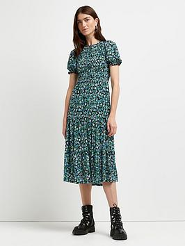 river-island-shirred-floral-tee-midi-dress--green