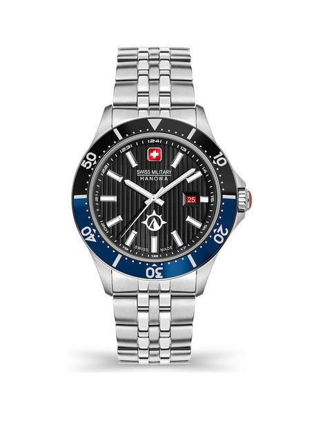 swiss-military-swiss-military-flagship-x-watch-with-black-dial-and-stainless-steel-silver-bracelet