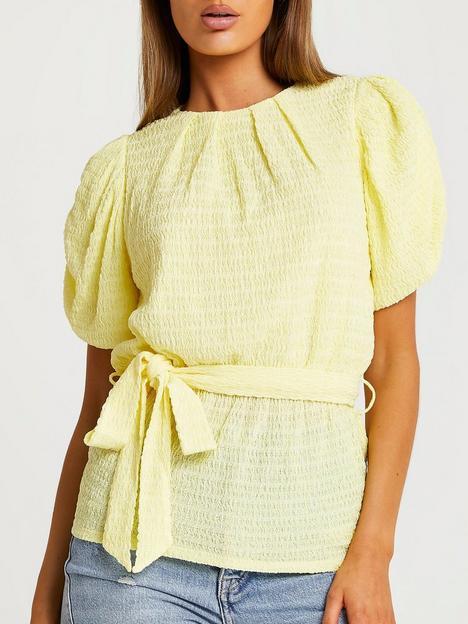 river-island-wavy-mesh-waisted-puff-sleeve-top-yellow