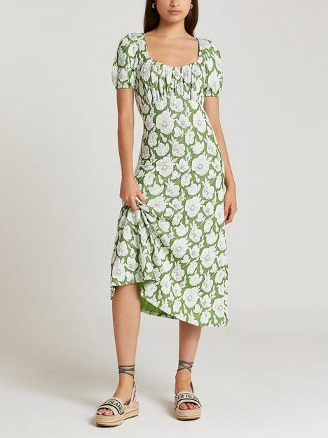 river-island-floral-jacquard-midi-dress--green