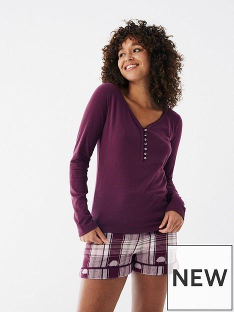 fatface-lily-henley-pyjama-top-purple