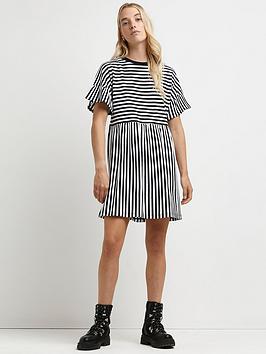 river-island-frill-stripe-smock-tee-dress-black