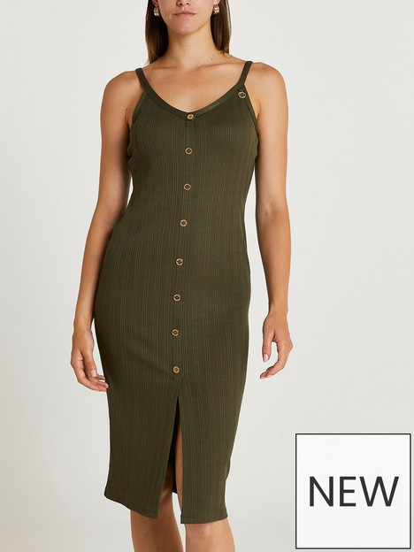 river-island-button-detail-ribbed-midi-dress--khaki