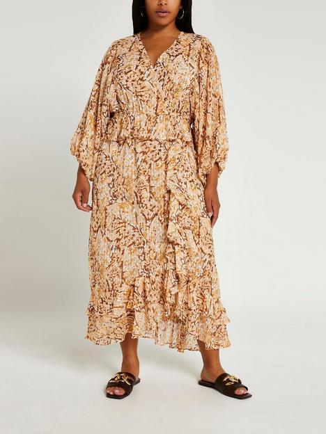 ri-plus-frill-wrap-dress-brown