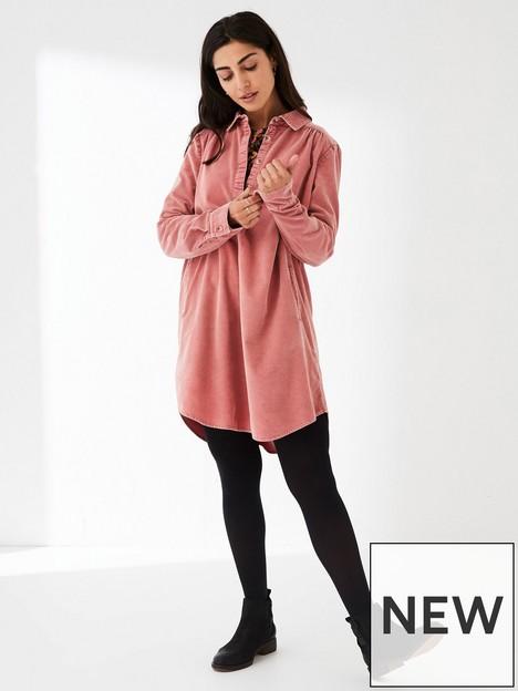fatface-harper-cord-shirt-dress-pink