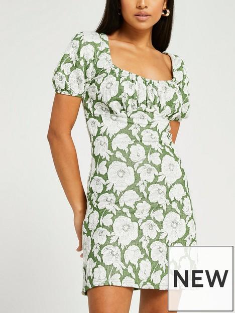 river-island-floral-jaquard-midi-dress-green