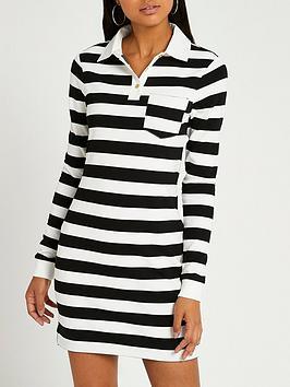 river-island-fitted-stripe-rugby-mini-dress-white