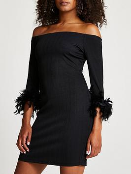 river-island-feather-trim-bardot-dress-black