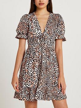 river-island-leopard-print-puff-sleeve-v-neck-mini-dress--cream
