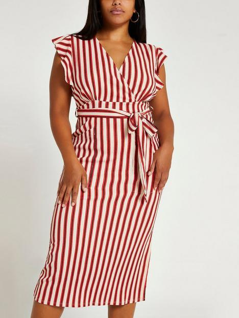 ri-plus-stripe-tie-waist-midi-dress--red