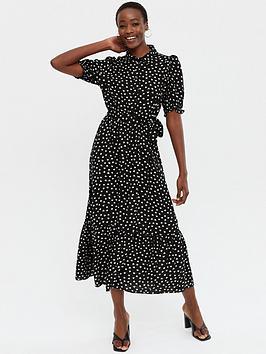 new-look-black-heart-frill-belted-tiered-midi-shirt-dress