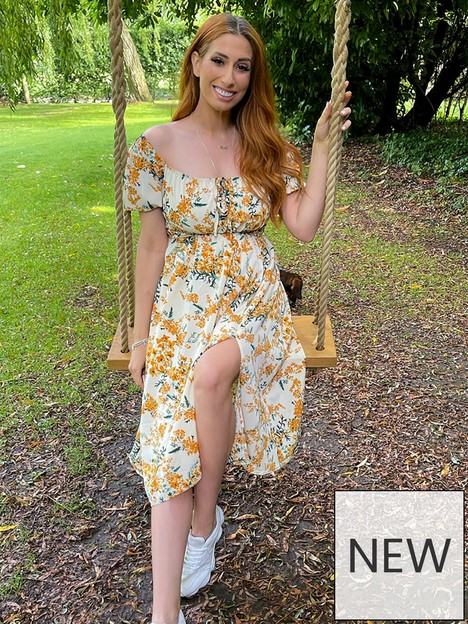 in-the-style-in-the-style-stacey-solomon-orange-floral-print-puff-sleeve-midi-tea-dress