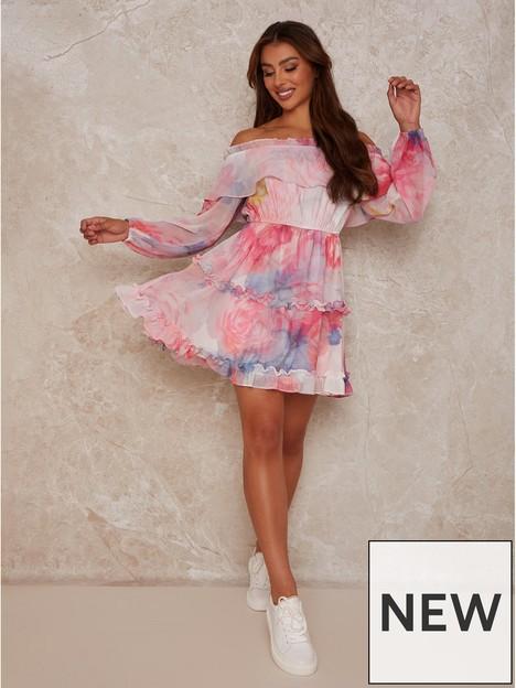 chi-chi-london-watercolour-bardot-mini-dress-pink