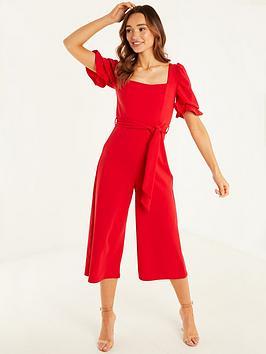 quiz-scuba-crepe-puff-sleeve-culotte-jumpsuit-red