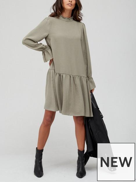 v-by-very-high-neck-dropped-hem-mini-dress-khaki