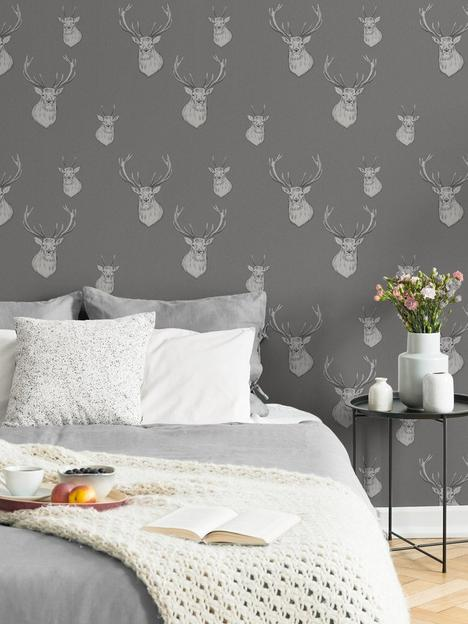 catherine-lansfield-stag-charcoal-wallpaper