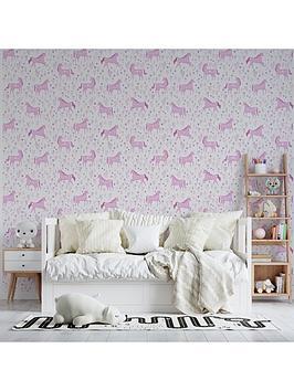 catherine-lansfield-folk-unicorn-pink-wallpaper
