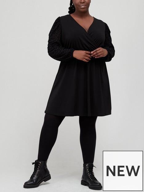 v-by-very-curve-long-sleeve-animal-flock-mini-jersey-dress-black