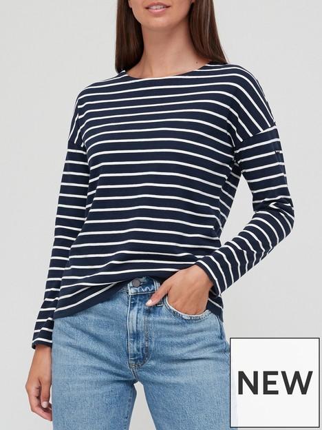 superdry-studios-stripe-jersey-top-navycream