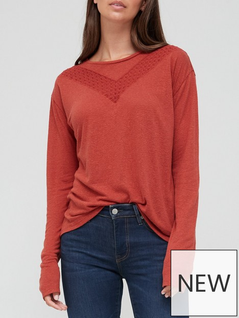 superdry-lace-detail-long-sleeve-jersey-top-rust
