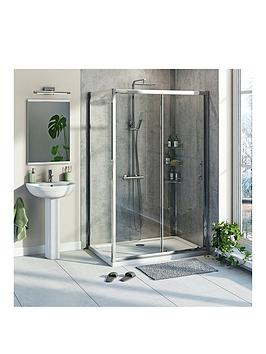 Victoria Plum 6Mm Sliding Shower Enclosure With Tray And Waste 1200 X 800