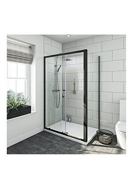 Victoria Plum 6Mm Black Framed Shower Door And Tray 1200 X 800