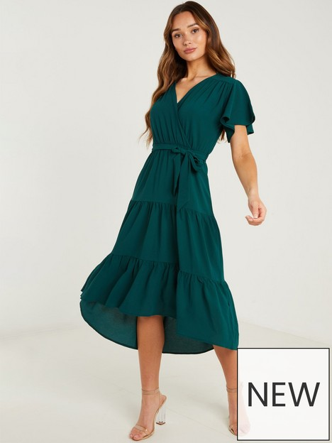 quiz-crepe-wrap-front-tiered-midaxi-bottle-green