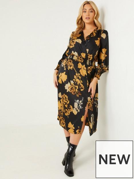 quiz-curve-quiz-curve-black-floral-print-satin-gathered-waist-midi-dress