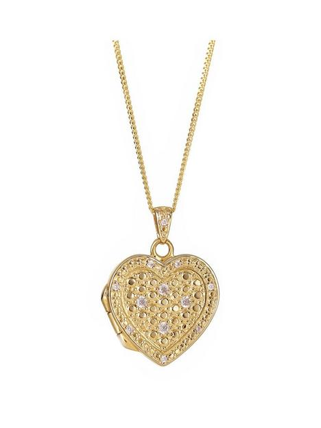 the-love-silver-collection-sterling-silver-gold-plated-cubic-zirconia-heart-locket-pendant-162-inch-curb-chain