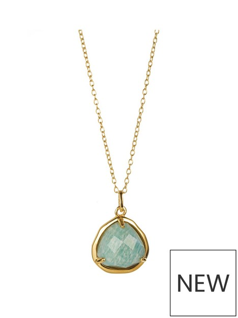 love-gem-gold-plated-silver-amozanite-crystal-pendant-18-inch-chain